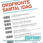 En heldag i Ordfronts regi på Bokmässan i Göteborg